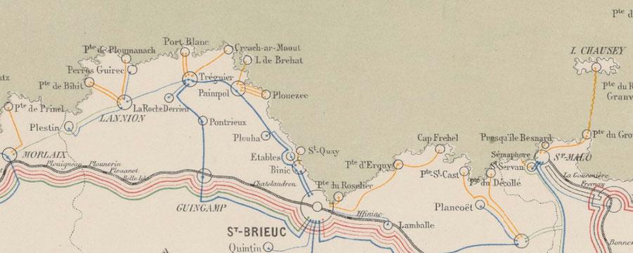 Sémaphores des Côtes du Nord et d'île et Vilaine sont bien répartis sur le littoral