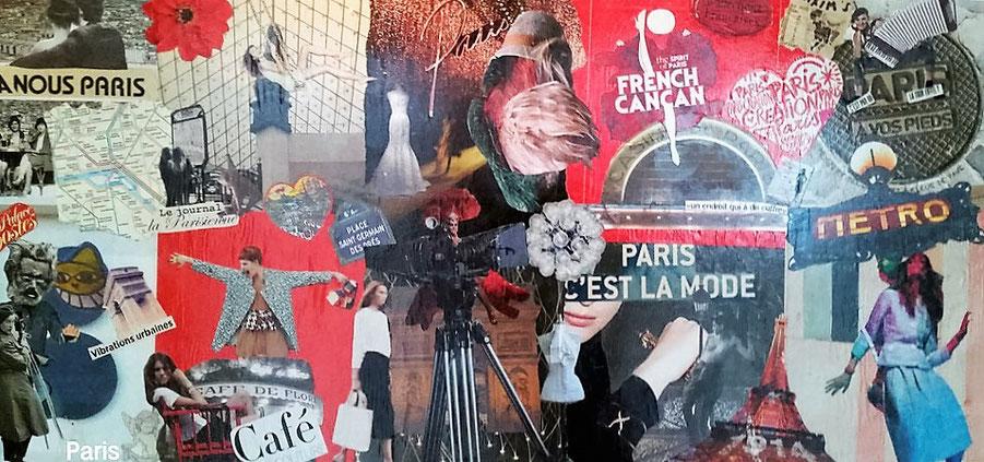 Collage Paris Touristes - Art du collage personnalisé - Artiste ...