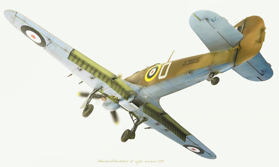 Hawker Hurricane Mk II/c  Trop version: 126 SQN. RAF inspired on Tà Qali (Malta) based in 1941 - Trumpeter kit 1:24 scale model