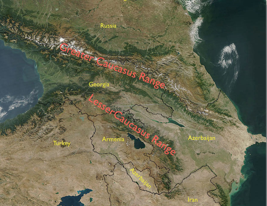 Satellit view of the Greater and Lesser Caucasus Range with country names