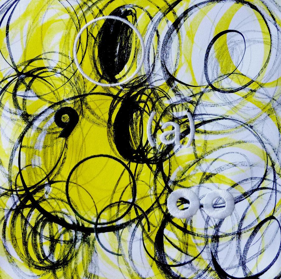 Astratto 9 (a), tecnica mista e ricami su tela, 2016