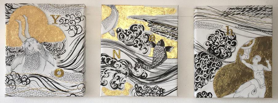 Giona|Yonah, tecnica mista, foglia similoro e ricami su tela, trittico, 2019