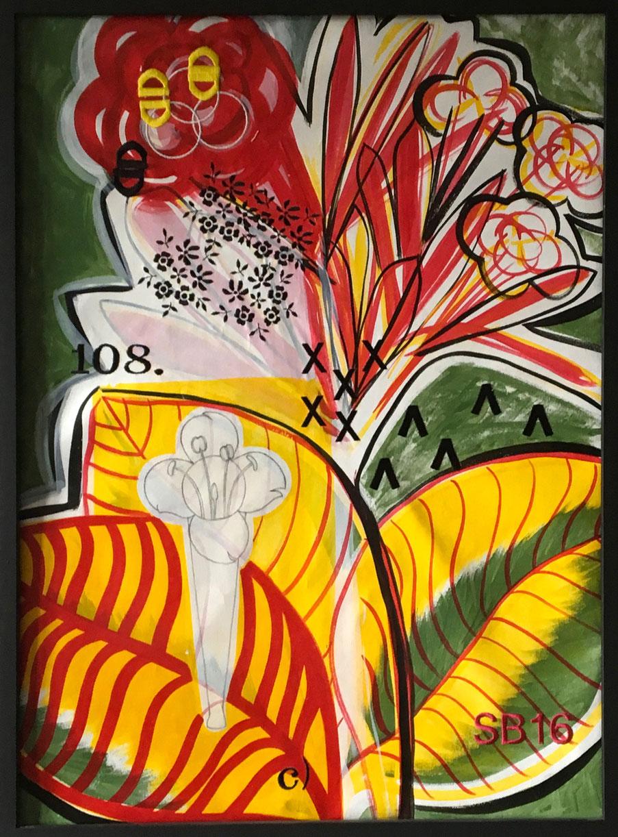 Fiore Rosso, tecnica mista e ricami su tela, cm 80x60, 2016