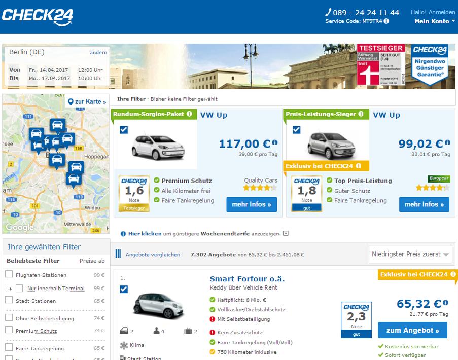 CheckEinfach | Mietwagen Check24