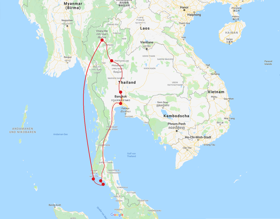 Backpacking Thailand Route 3 Wochen