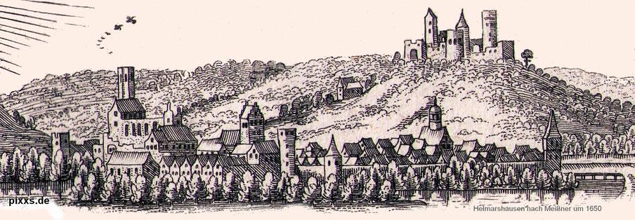 Die mittelalterliche Stadt Helmarshausen um 1650 (nach einem Stich aus Meissners Schatzkästlein)