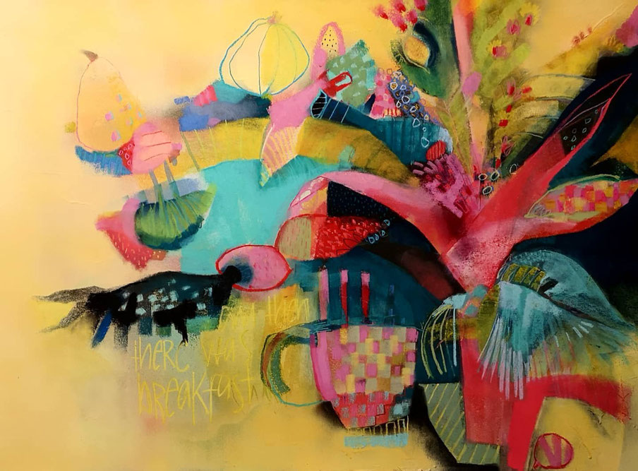 hear me whisper - mixed media / gouache on paper, 70x100 cm