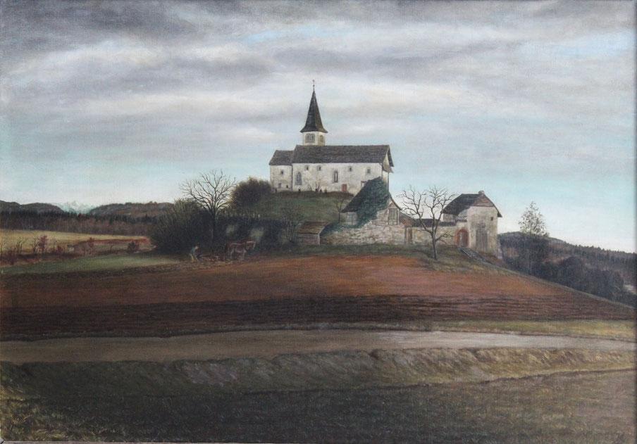 Karl Lang, Büsinger Bergkirche, 1935, Öl auf Leinwand, 52 x 74 cm