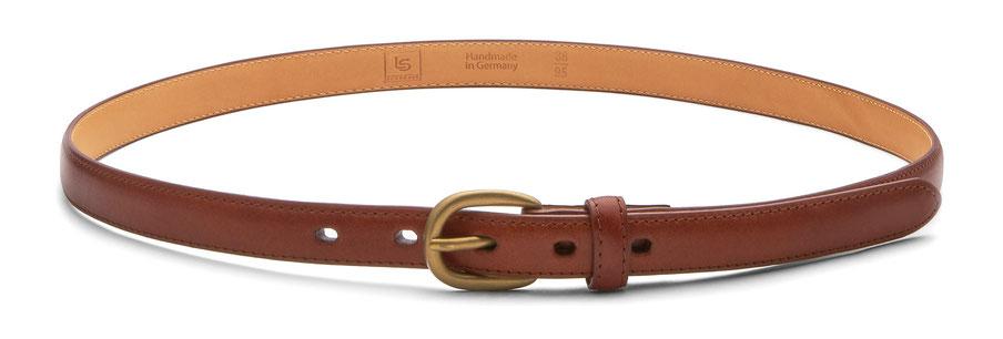 2cm schmaler cognac farbener Damen Ledergürtel mit goldener Schnalle