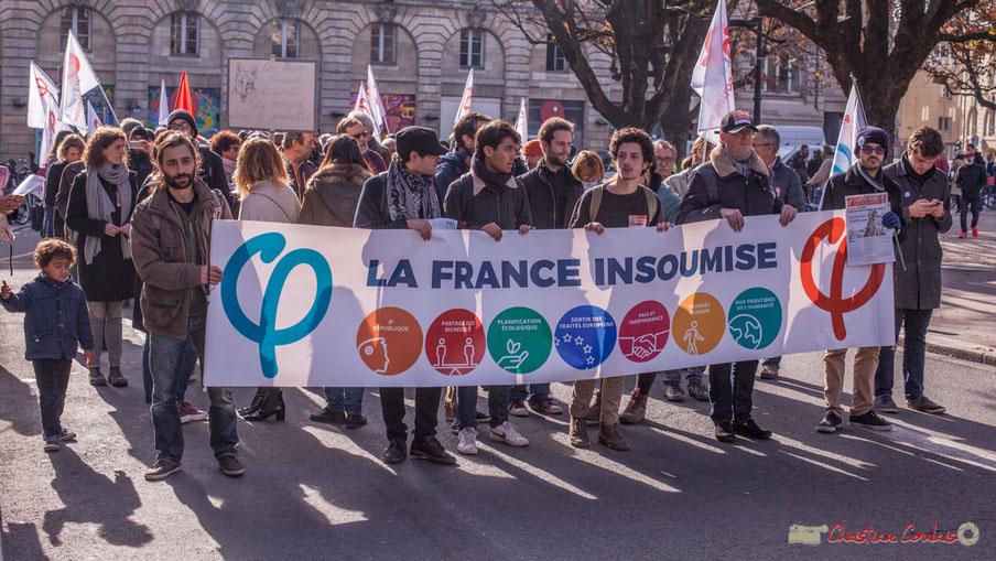 Présence de la France insoumise à la quatrième manifestation intersyndicale contre les réformes libérales d'Emmanuel Macron. Bordeaux, 16 novembre 2017