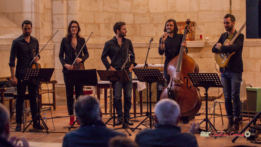 Festival JAZZ360 2019, église Saint-André de Cénac. François Poitou Quintet : Bastien Ribot, Aude-Marie Duperret, Maxime Berton, François Poitou, Federico Casagrande. 07/06/2019