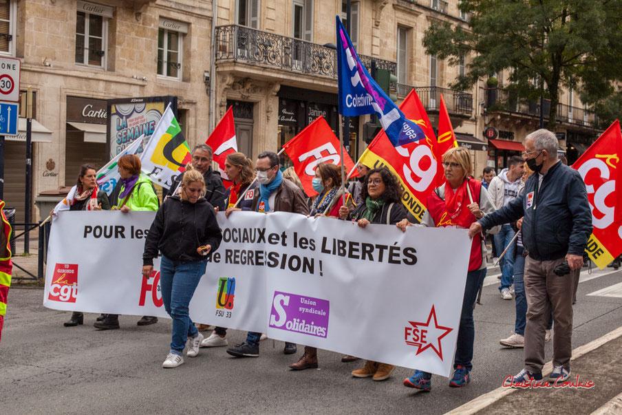 Manifestation intersyndicale pour imposer les solutions sociales, économiques et environnementales aux véritables enjeux de notre temps. Bordeaux, mardi 5 octobre 2021 Photographie © Christian Coulais