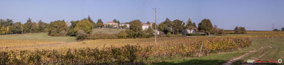 Le hameau de Mons, depuis le chemin de Mons (randonnée pédestre départementale), Cénac, Gironde. 16/10/2017