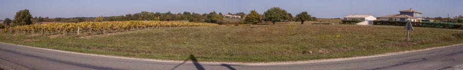 Panoramique. Avenue de Lignan, Cénac, Gironde. Depuis le lieu-dit Chabrot vers le hameau de Mons. 16/10/2017