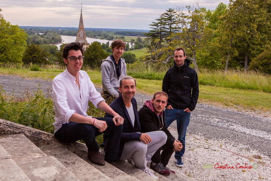 Adrien Brandéis Quintet (Adrien Brandéis, Romann Dauneau, Philippe Ciminato, Joachim Poutaraud, Félix Joveniaux) 10ème Festival JAZZ360, Langoiran, Jeudi 6 juin 2019. Photographie : Christian Coulais