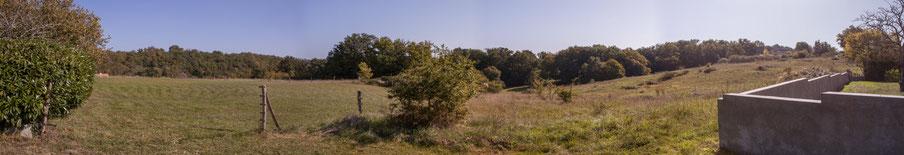 Panoramique 1. Anciennes terres agricoles du Domaine de Gratian, Cénac, Gironde. 16 octobre 2017