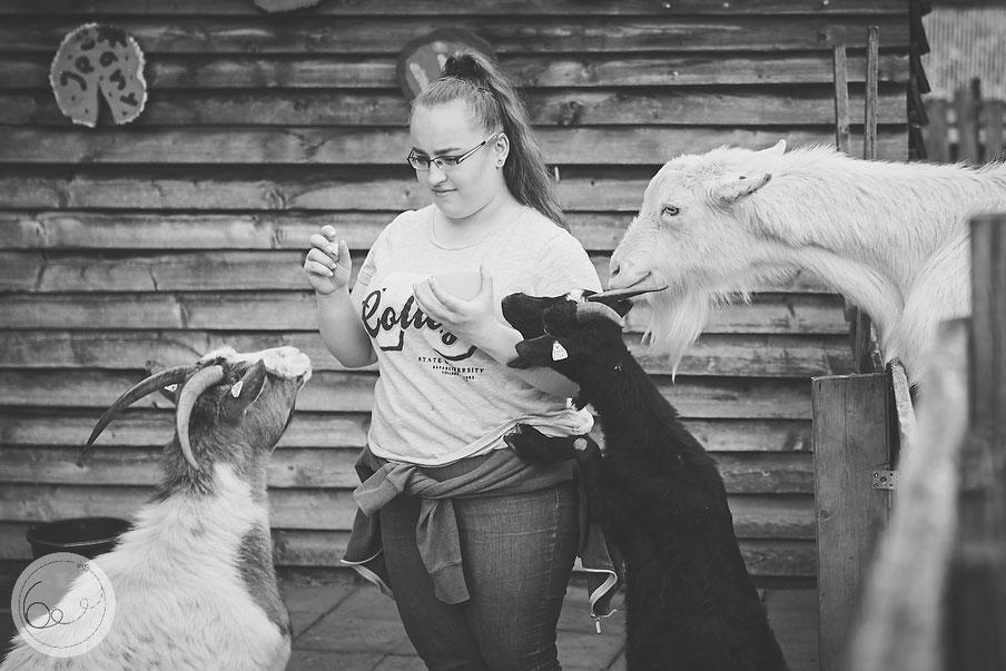 Jugendfarm-Bonn-Tiere-Ziegen-neugierig-Mädchen