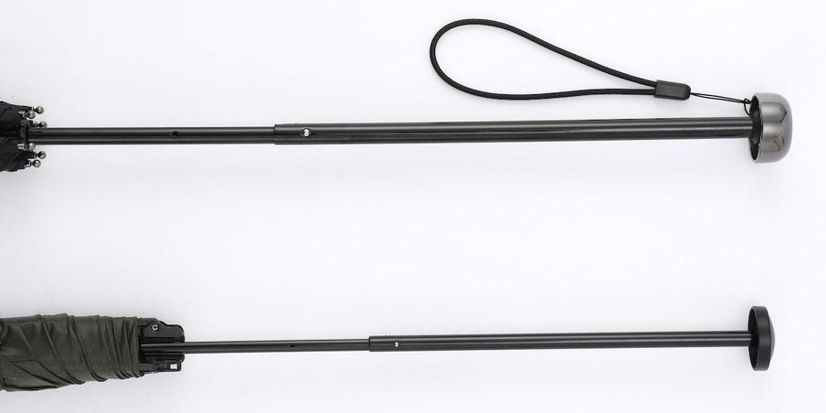 【上】オルタナスリム60 シャフトの太さは約10mm 【下】シャフトが細いものは約7.6mm