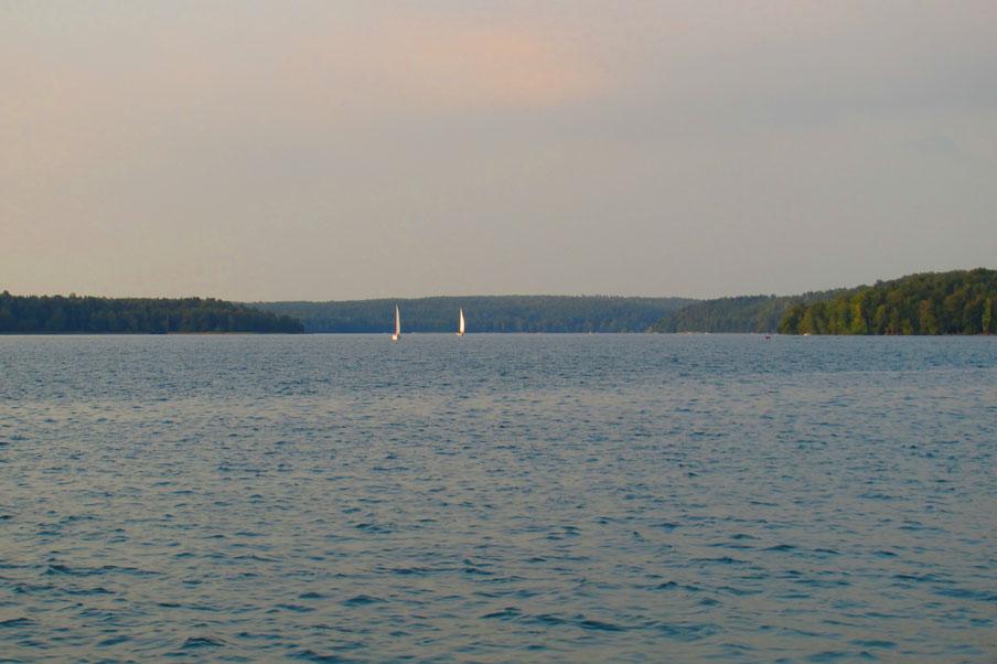 Der weitläufige Werbellinsee mit Segelbooten, Segelyachten und Motorbooten