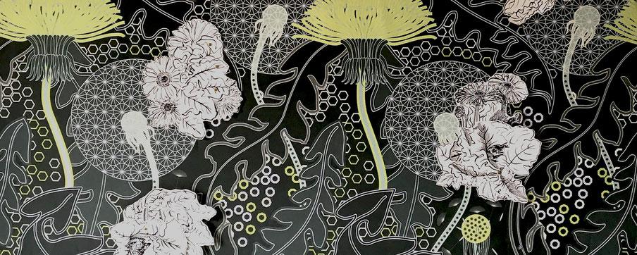 Contrappunto floreale,  floralpattern design + painting