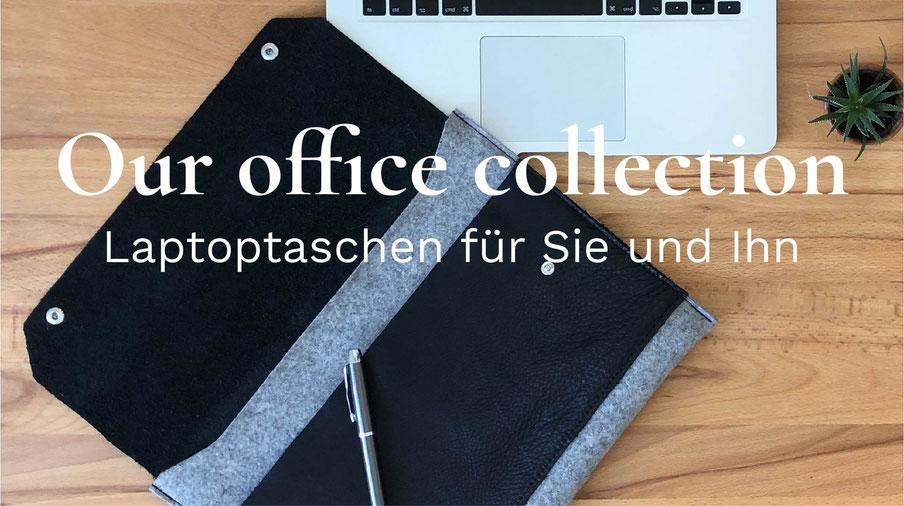 Laptoptasche aus Leder pflanzlich gegerbt und Wolle Filz aus Deutschland