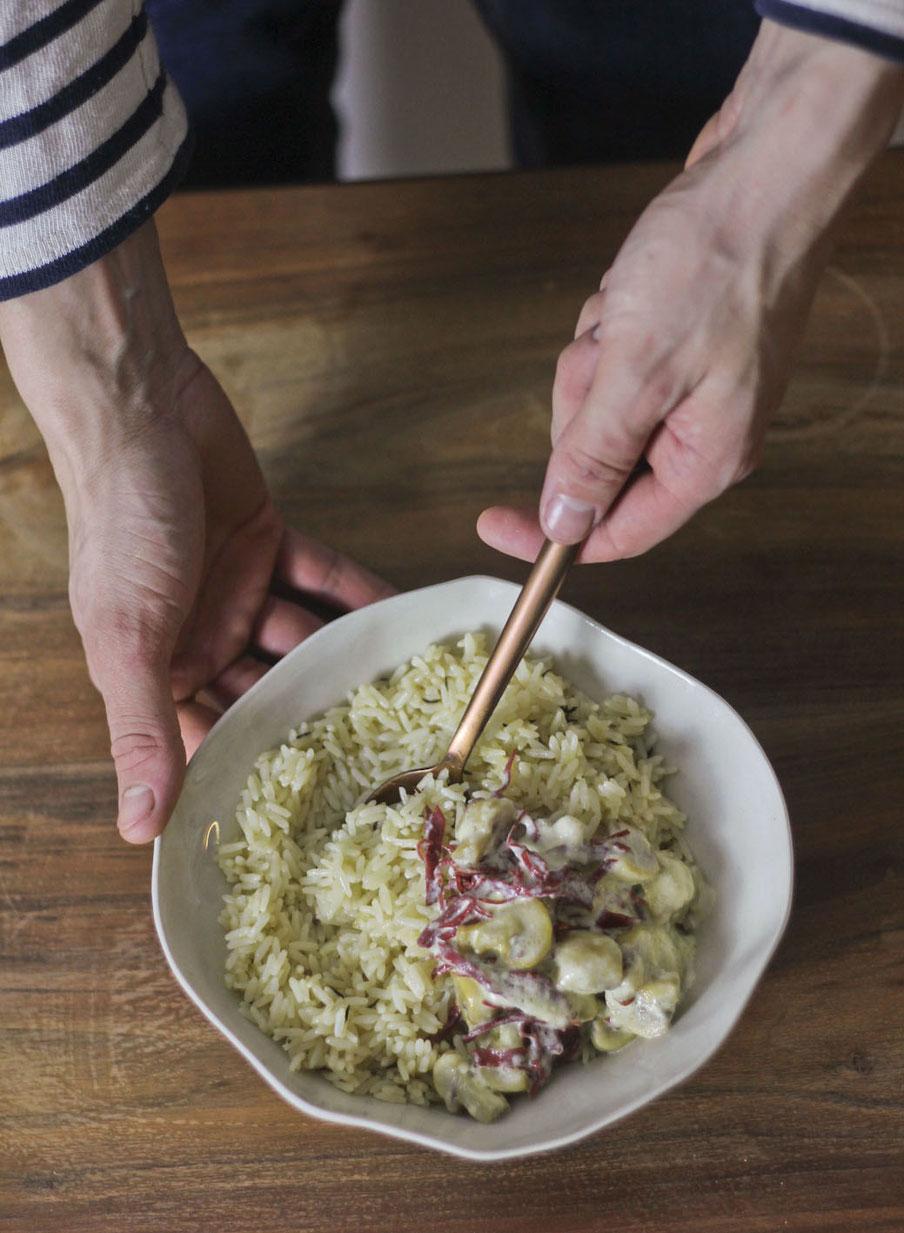 Riz pilaf aux champignons et jambon