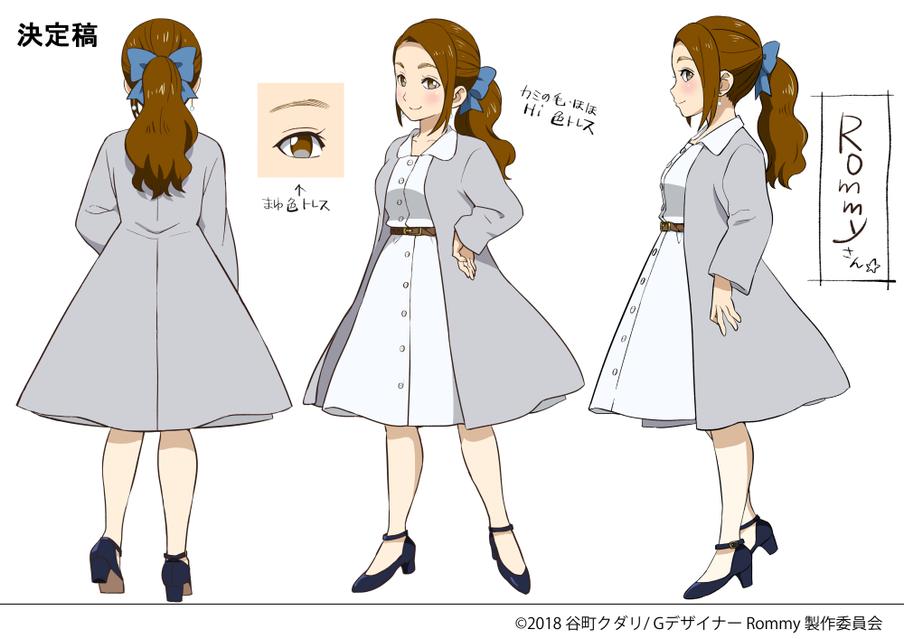グラフィックデザイナーアニメ風似顔絵3面図