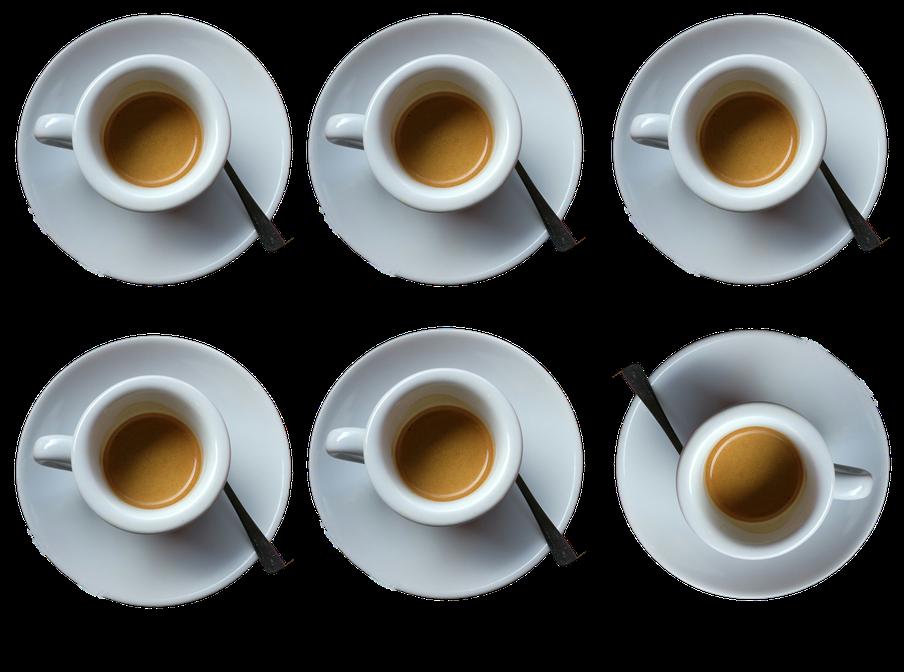 """""""Bild:""""Espresso Bandits - Kaffee Catering fuer Messen - sechs espresso Tassen von oben als Collage montiert"""