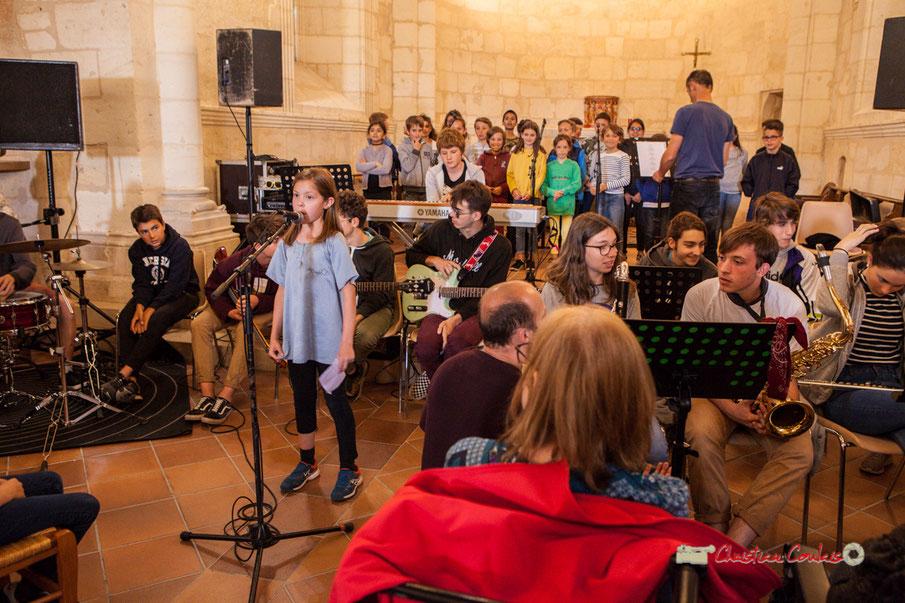 Festival JAZZ360 2019; Chorale des T.A.P. de Cénac, des CM1-CM2 de Quinsac, des CE2-CM du Tourne, et le Big Band de la classe jazz du collège de Monségur.