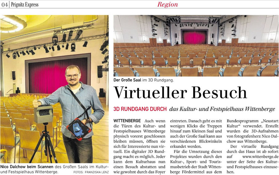 3D Rundgang des Kulturhauses Wittenberge in der Presse