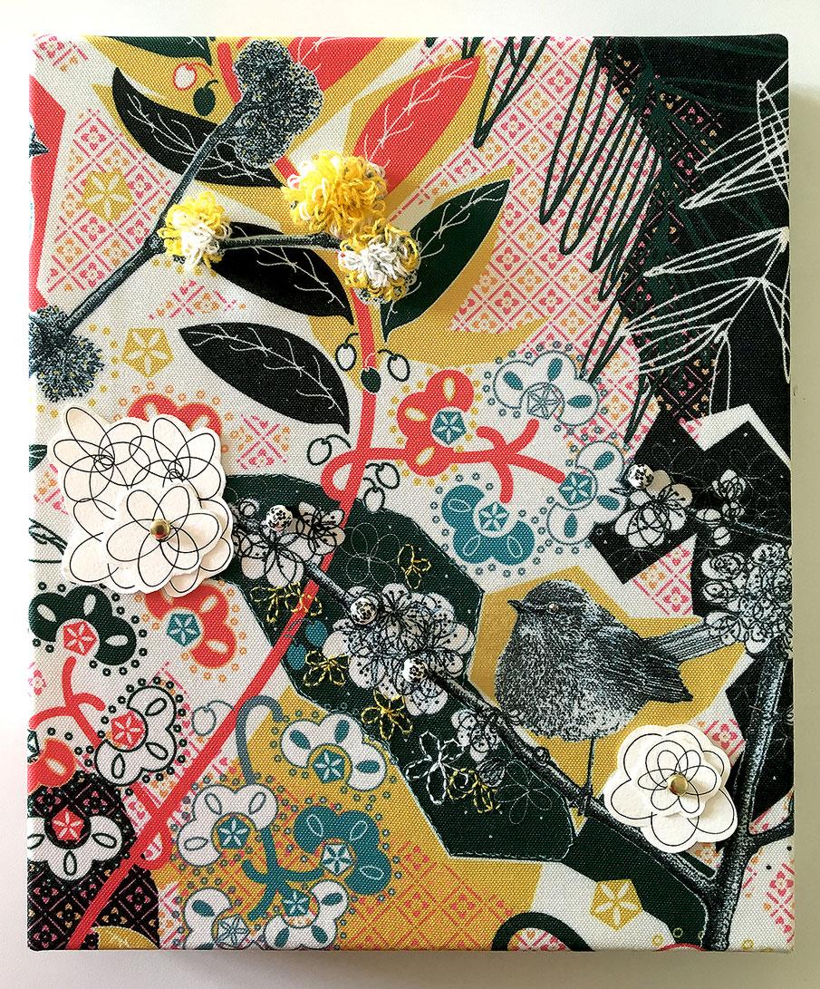 stampa su tela, lana, ceramica, inchiostro su carta, ottone