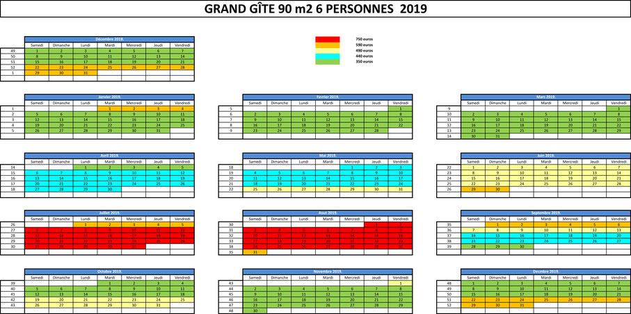 planning d'occupation et tarif GÎTE BREIZH EVASION 6 personnes 2018