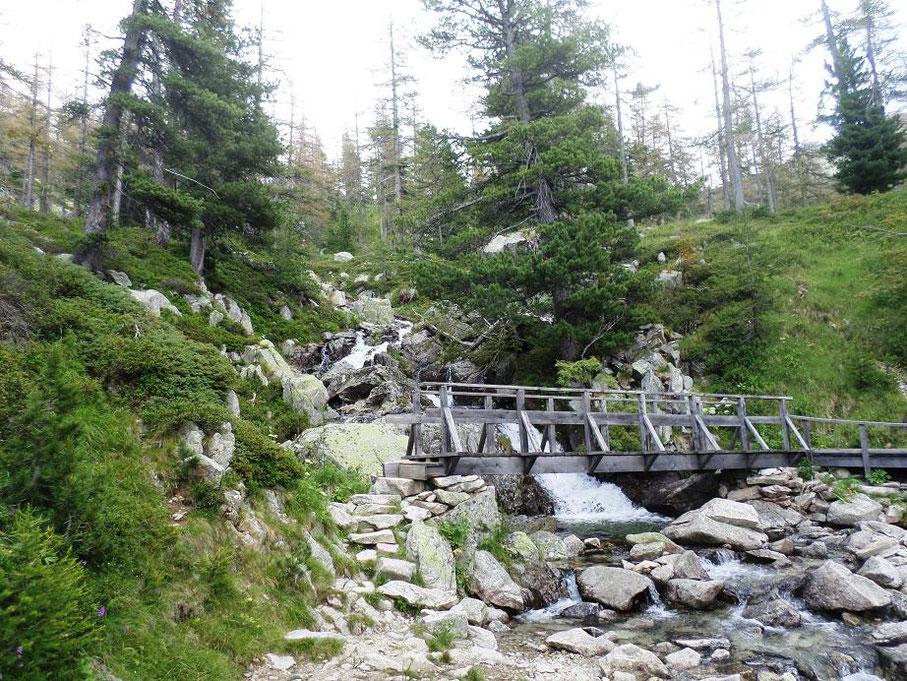 Le passerelle en bois au pied de la cascade