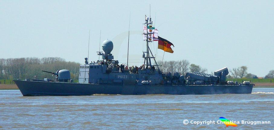 Bundesmarine Schnellboot HERMELIN S-73 einkommend zum Hafengeburtstag in Hamburg 05.05.2016