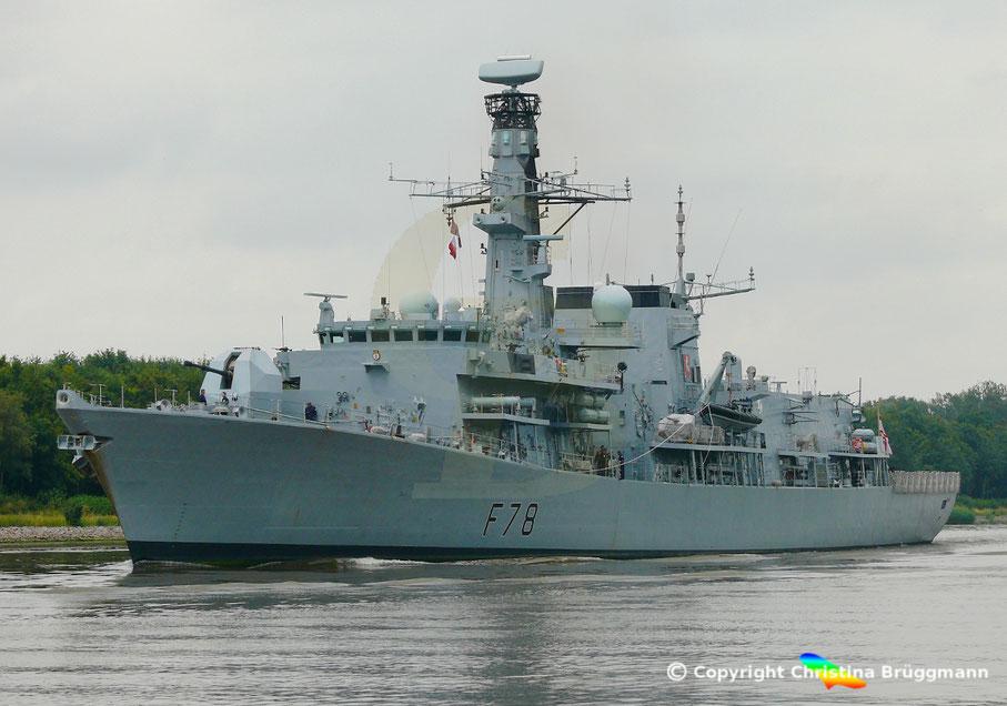 Fregatte HMS KENT (F-78) im Nord-Ostsee-Kanal, 11.07.2019