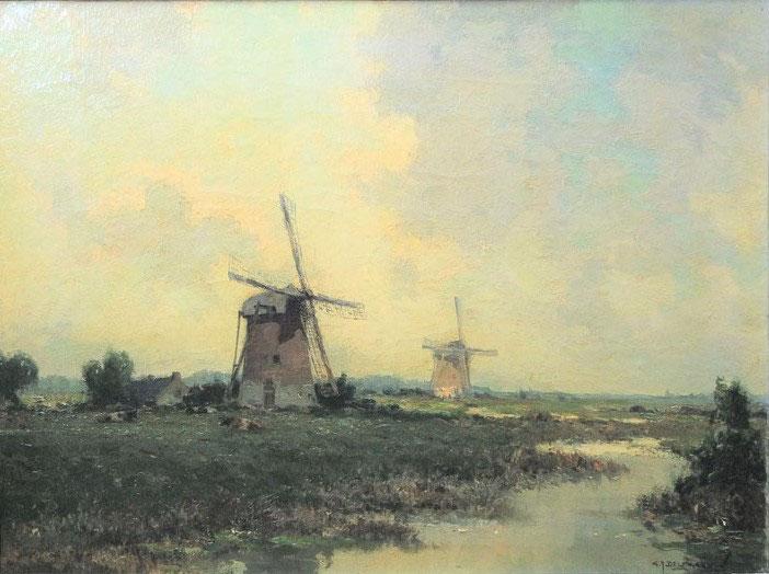 te_koop_aangeboden_een_schilderij_met_een_molenlandschap_van_de_kunstschilder_gerard_delfgaauw_1882-1947