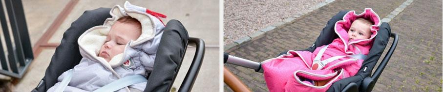 Lodger der Wrapper ist auch bestens für die Babyschale und den Kinderwagen geeignet
