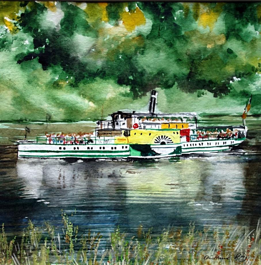 """gemaltes Bild  Personendampfer """"Kurort Rathen"""" © Christiane Ros"""