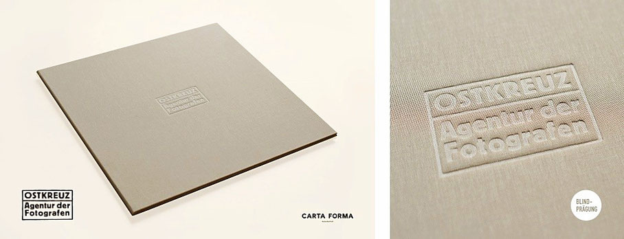 Portfoliomappe 30 x 30 cm mit einer Blindprägung. Corporate Design Prägestempel. Fotografie Mappe, Logo-Prägung