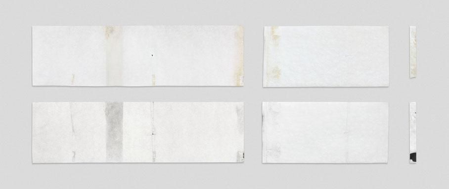 [ Cometa y reproducción ] Tríptico formado por trozos de papel de una cometa manufacturada y dibujo mimético sobre un soporte de las mismas características. (70 x 180 aproximadamente. 2018)