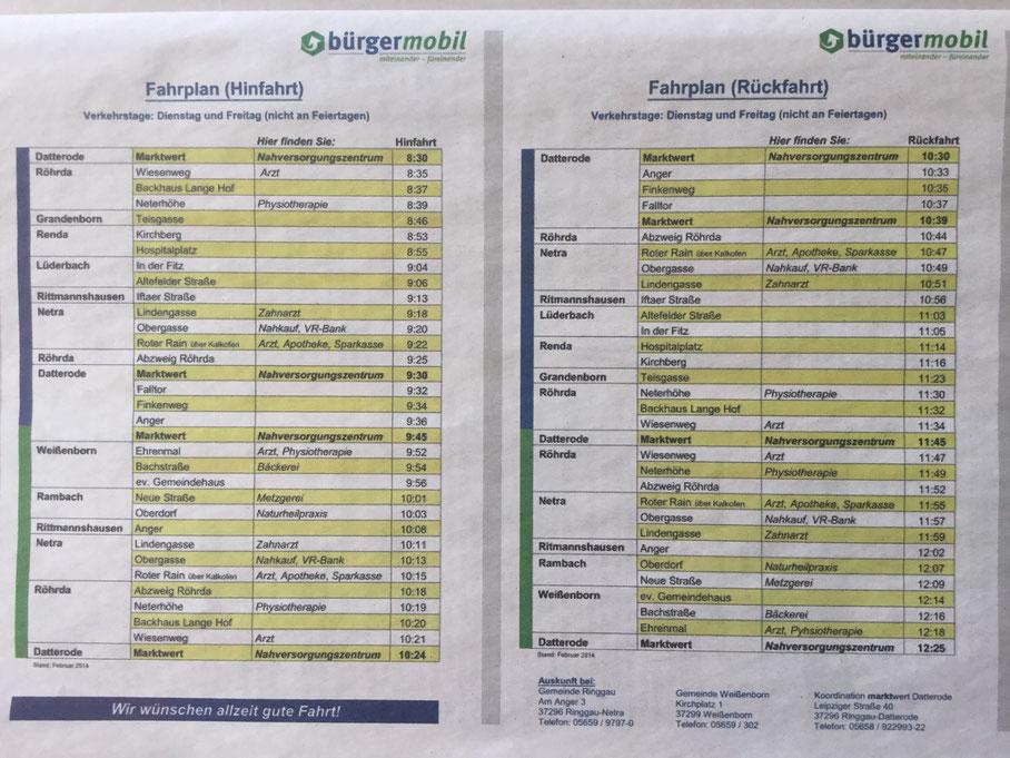 Fahrplan des Ringgau Bürger Mobil