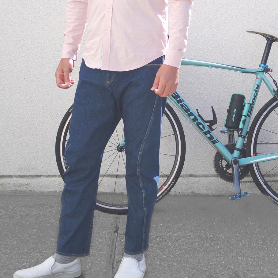 Gパン、2ウェイ、デニム、サイクルスポーツ、自転車通勤、岡山デニム、サイクリング、ポタリング、カジュアル、立体パターン、動きやすい、テーパード