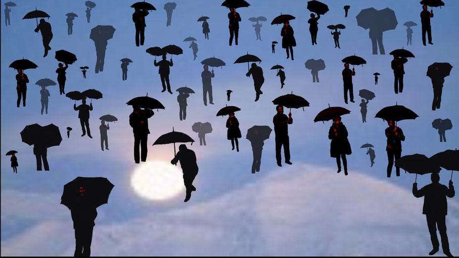 pluie de parapluie façon Magritte