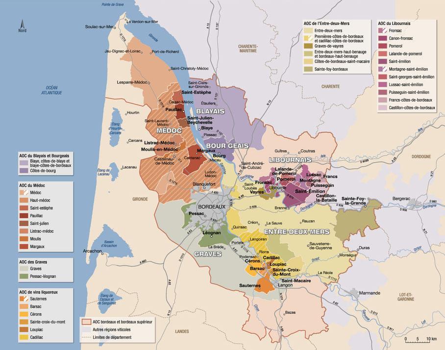 Carte du vignoble de Bordeaux