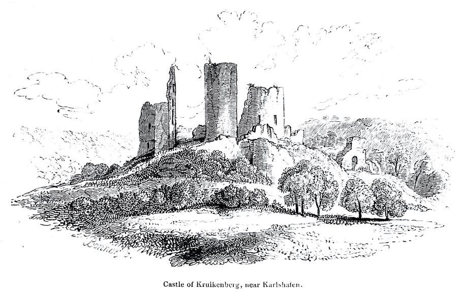 Der englische Zeichner Rob. Batty bereiste um 1825 die Weserregion und war Gast auf der Burg  (Holzstich Batty)