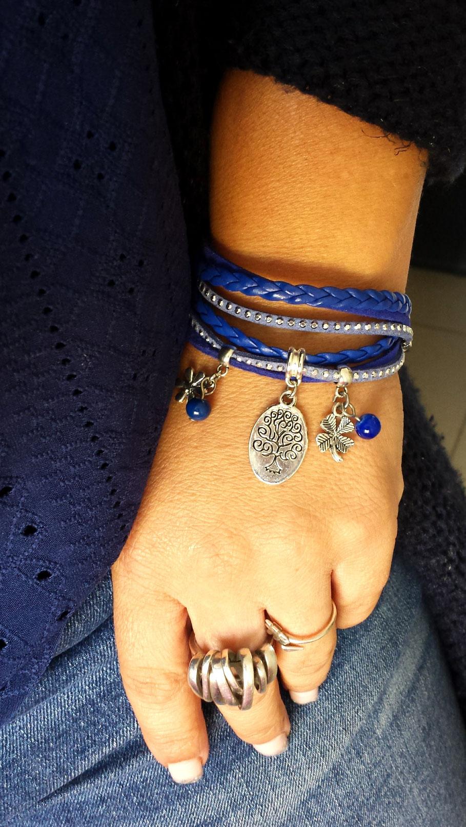Bracelet ARBRE DE VIE manchette 2 tours, ses perles et breloques, bleu, argent, strass blog