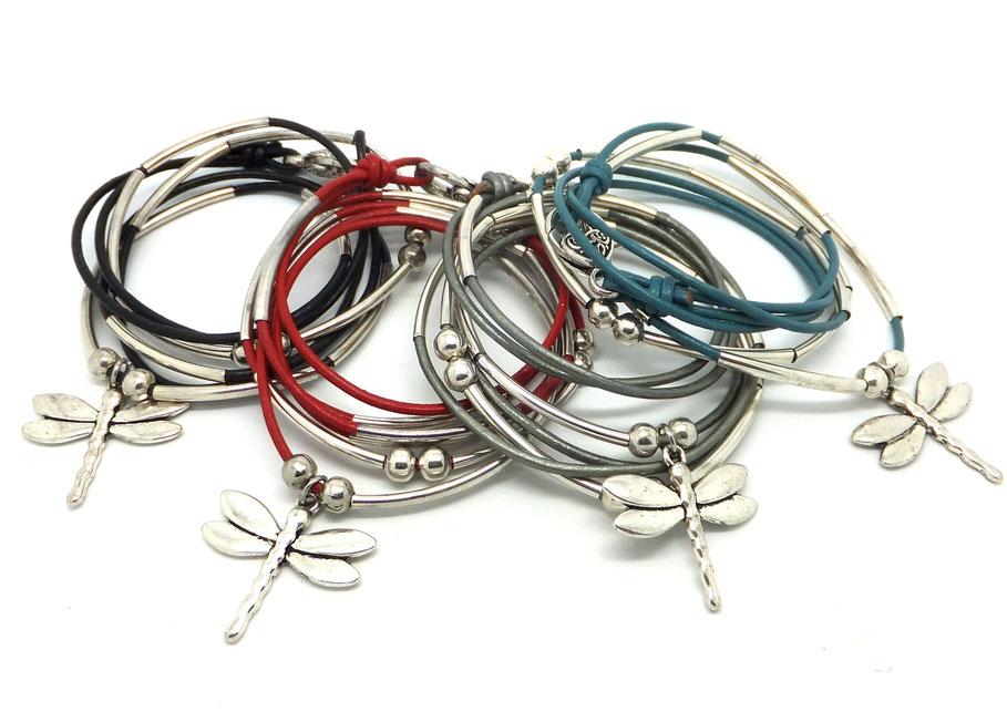 DRAGONFLY - Bracelet libellule, bracelet en cuir, bracelet transformable en collier, bracelet personnalisable, bracelet femme, bijou fait main en France