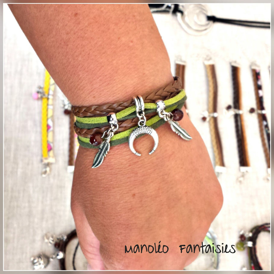 LIANG - bracelet lune, bracelet plume, bracelet manchette, bracelet deux tours, bracelet kaki, bracelet corne corne, bracelet fait main, bracelet breloque