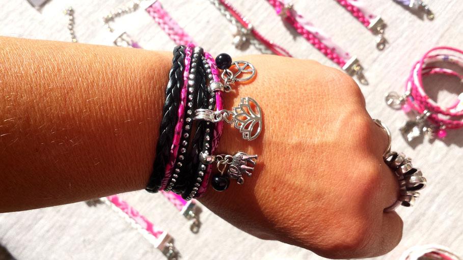 Bracelet fleur de LOTUS, manchette, multi tours, éléphant, peace and love, perle, noir, argent, rose, strass, fait main en France
