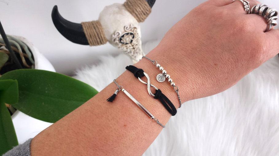 ELOAN - Bracelets fins, bracelets bohème, bracelets perle, bracelet pompon, bracelets argent, bracelet infini, bracelets minimaliste, bracelets fait main